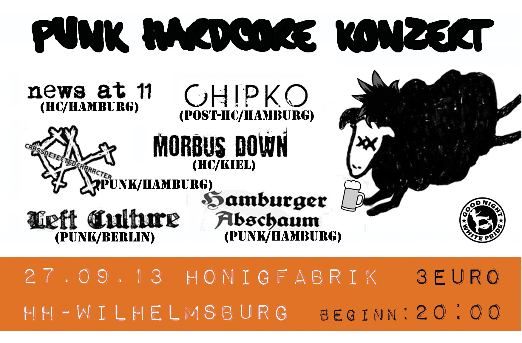 hamburger abschaum + left culture + morbus down + crass defected character + news at 11 + ohipko @honigfabrik, hamburg, 27.09.2013