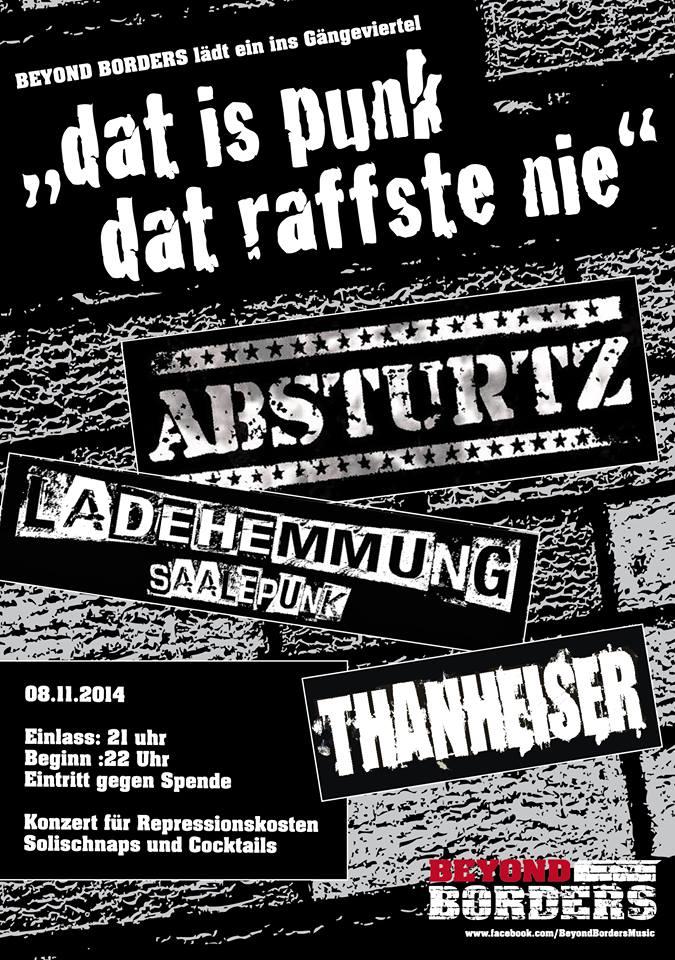 ladehemmung + absturtz + thanheiser @gängeviertel, hamburg, 08.11.2014