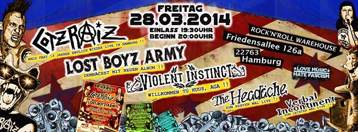 lost boyz army + cotzraiz + verbal incontinent + violent instinct + the headäche @rock'n'roll warehouse, hamburg, 28.03.2014