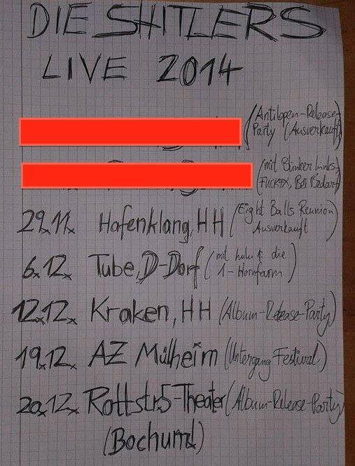 shitlers, die - konzerte 11+12.2014