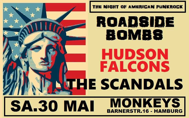 hudson falcons + the scandals + roadside bombs @monkeys, hamburg, 30.05.2015