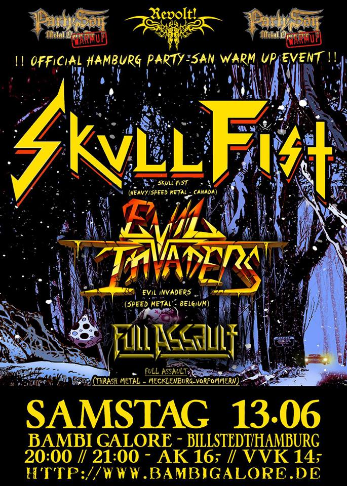 skull fist + evil invaders + full assault @bambi galore, hamburg, 13.06.2015