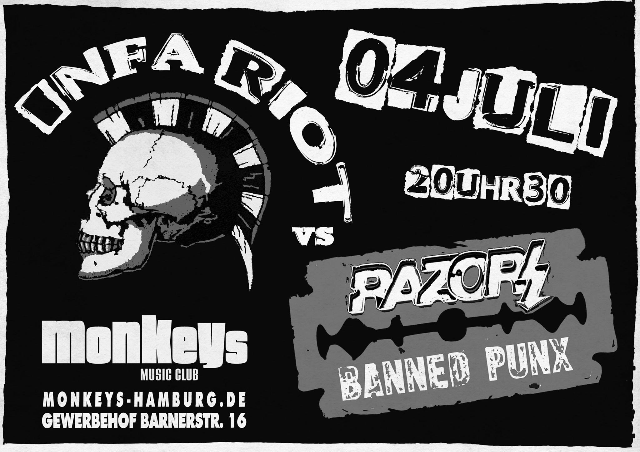 infa-riot + razors @monkeys, hamburg, 04.07.2015
